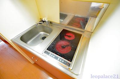 同タイプ室内・2口電気コンロ完備、キッチン下にも収納スペース有ります。