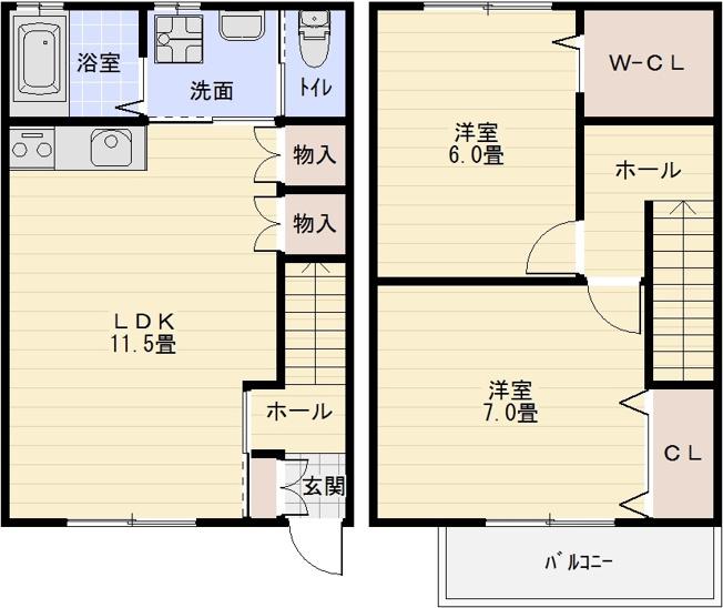 クアトロファミリアーレ今町 メゾネット 2階建て アパート ハイツ テラスハウス 2LDK