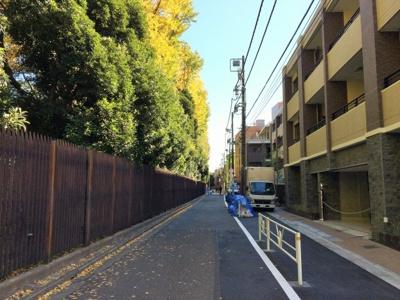 新宿御苑に面した前面道路