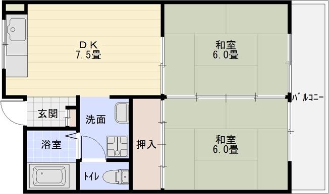 サンハイツ(河内国分駅) 2DK 間取り
