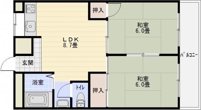 メゾン平野 法善寺駅 堅下駅 2DK