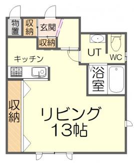間取りは洋室13帖の1K設計です。洋室はゆとりのある広々とした空間。使い勝手を重視した間取りとなっております。