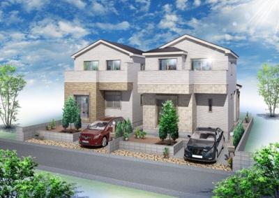 【外観パース】さいたま市北区本郷町 新築分譲住宅全2棟 1号棟
