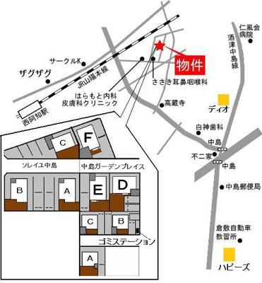 中島ガーデンプレイス(倉敷市中島賃貸戸建て貸家)地図