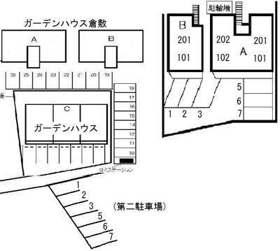 プリメール(倉敷市浜町1丁目 賃貸アパート)配置図