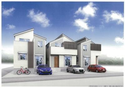 【外観パース】さいたま市緑区三室 デザイン新築分譲住宅全3棟 残1棟
