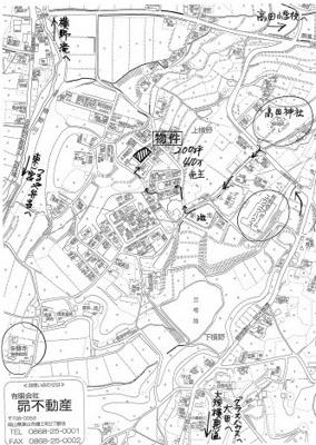 【地図】津山市上横野 売土地200坪