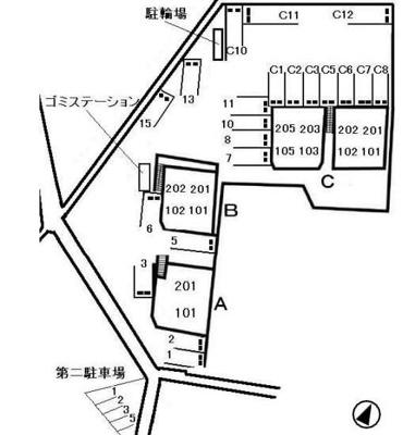 グランディール(倉敷市日ノ出町 賃貸アパート)配置図