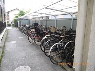 駐輪場です。マンション住人のかたが整理整頓協力し合ってます。