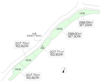【区画図】入間市仏子・全5区画 建築条件なし土地 ~駅近・60坪以上~