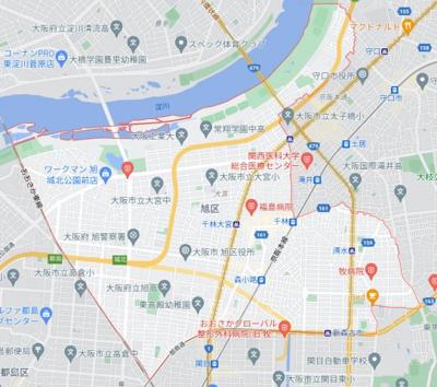 大阪市旭区の地図