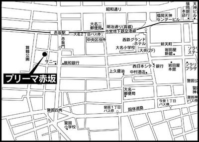 プリーマ赤坂(1K) 地図