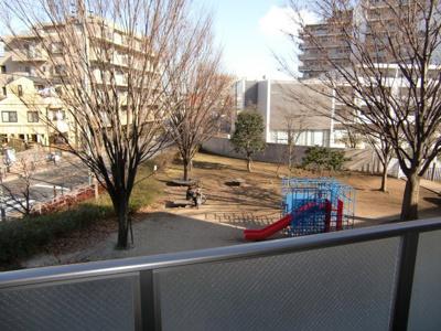 マンションの裏は公園です。