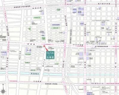 【地図】シティライフクラウンハイム長堀通