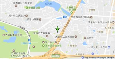 【地図】ヴェルビュ茨木南春日丘