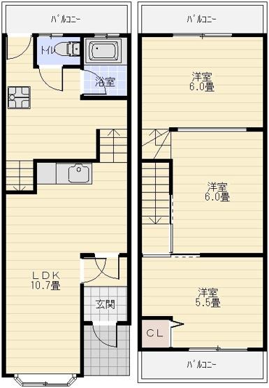 旭ヶ丘1丁目3LDKテラスハウス