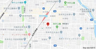 【地図】シェリール茨木Ⅱ
