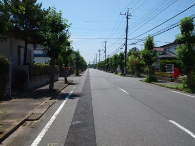 広々とした前面道路。歩道もついているので安心です