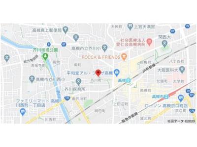 【地図】サントピア芥川 (株)Roots