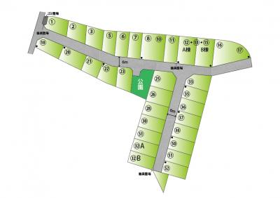 【区画図】【分譲地】ライフフィールド岩出中島Ⅱ ★全32区画 ★@12.8万~ ★建築条件無し