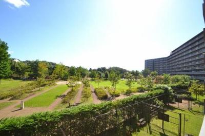 リビング・和室からの眺望。広大なプライベート公園が緑豊かに広がります。
