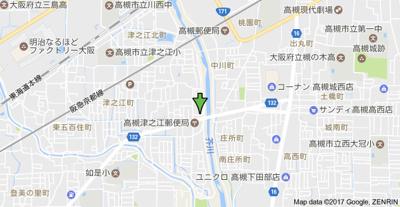 【地図】津之江パークハイツ2号館 スモッティー阪急高槻