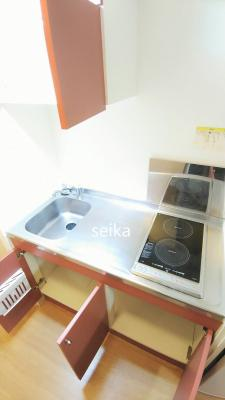 洗濯機もついています。収納棚も便利です。