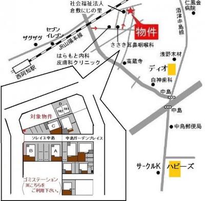 【地図】ソレイユ中島