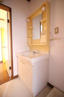 脱衣スペースもある広い洗面スペース