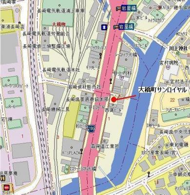【地図】大橋町サンロイヤル