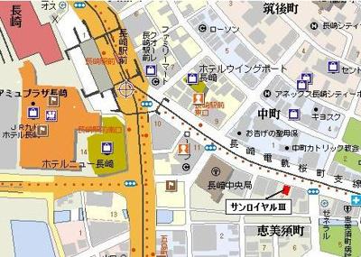 【地図】サンロイヤルⅢガレージ