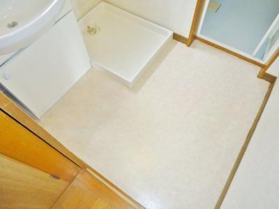 室内洗濯機置場のある広い洗面所