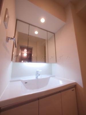 三面鏡・綺麗な独立洗面所です。