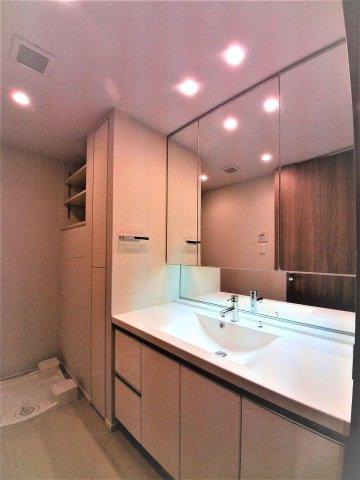 【メゾンカルム本郷】三面鏡の洗面台。収納豊富です。
