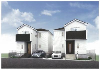 【外観パース】さいたま市緑区三室 デザイン新築分譲住宅全2棟