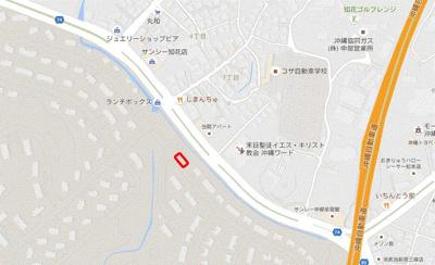 【地図】嘉手納飛行場 A号地・B号地・C号地(3区画)