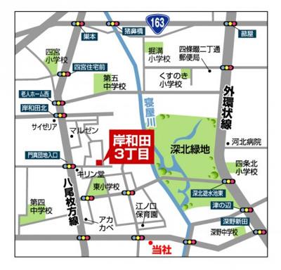 【地図】グラッド・タウン岸和田3丁目
