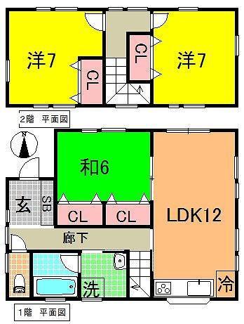 3LDK。全居室収納スペース有り、荷物が多くても十分おさまります。