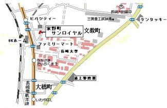 【地図】家野町サンロイヤル