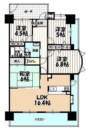 ライオンズマンション鳳北ガーデンシティ 角部屋、4LDKの間取り