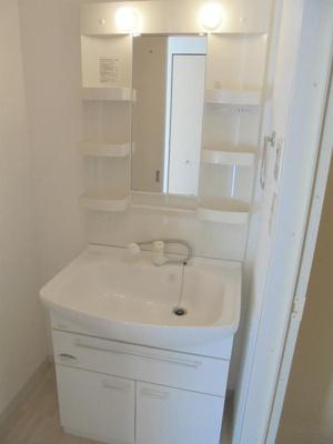 温水シャワー付洗面化粧台付き