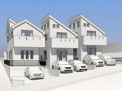 【外観パース】西区宮ヶ谷全3棟 新築戸建て