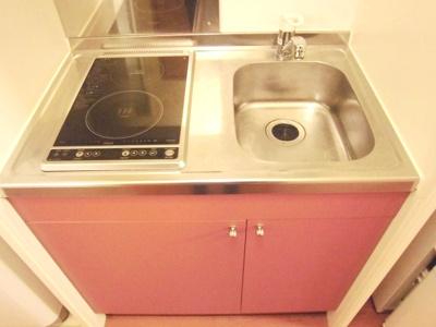 キッチンはフラットタイプの2口電気コンロ完備、お料理やお掃除もラクラクです。