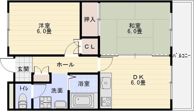 オーク国分 河内国分駅 高井田駅 2DK