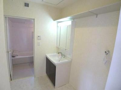 三面鏡、シャワー水洗付洗面台のある洗面所です