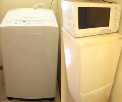 全自動洗濯機付、冷蔵庫、電子レンジ付き