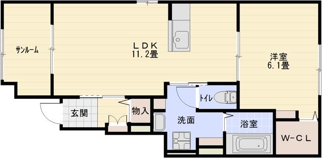 ブルースカイ3(八尾市教興寺) 1LDK
