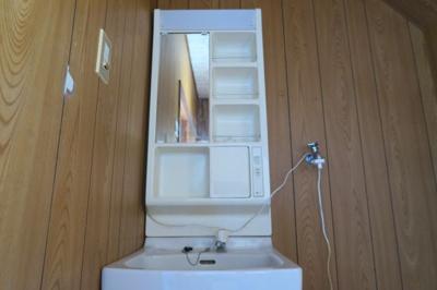 コンパクトな独立洗面台。朝の身支度には欠かせません。