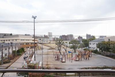 お部屋正面には、こどもの国という戸田市施設の公園です。冬にはイルミネーションで彩られます。