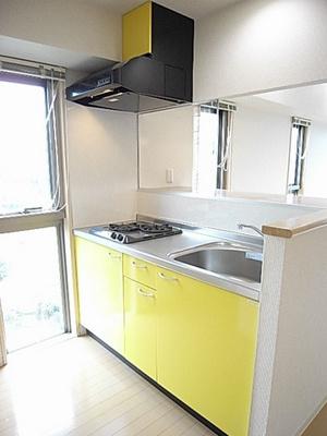 2口ガスコンロ付きシステムキッチンです☆たっぷり収納もあるシステムキッチンで料理もはかどります!自炊生活で楽しく健康に!